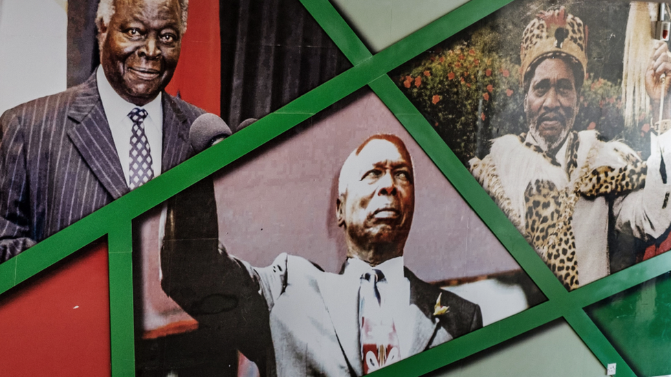 Portraits of Kenya's former presidents: Mwai Kibaki (L), Daniel arap Moi (C) and Jomo Kenyatta (R) on a wall at the Kasarani Stadium in Nairobi, Kenya - 2018
