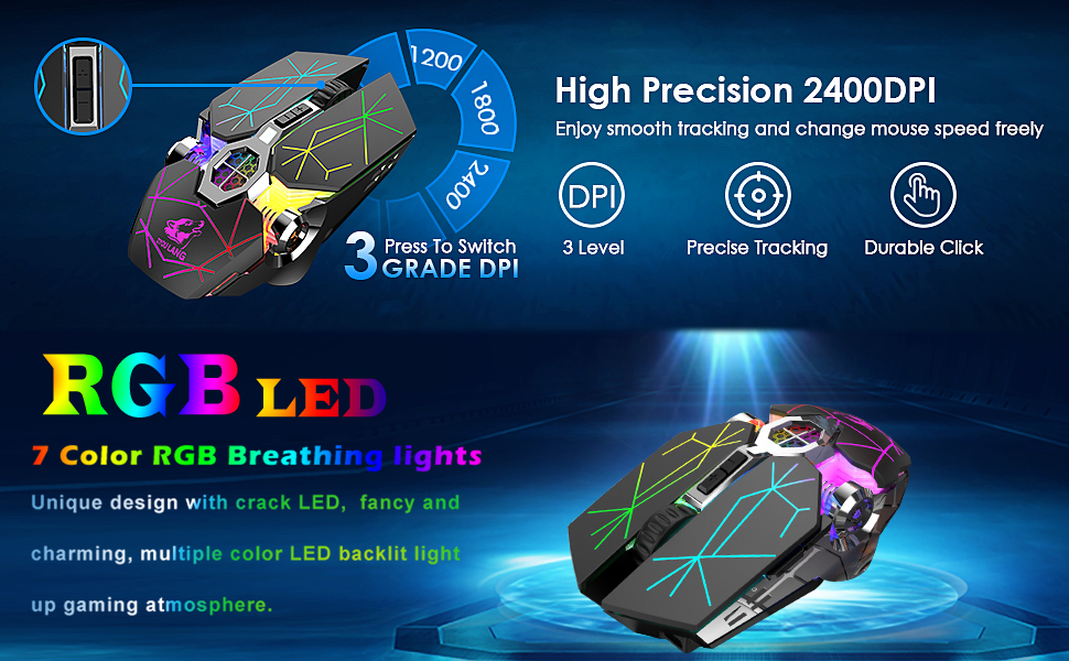 wireless gaming mouse with adjustable DPI