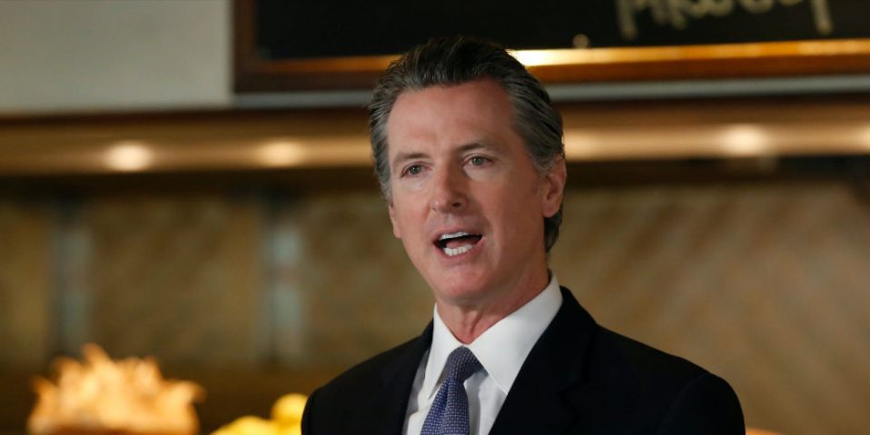 """Gov. Gavin Newsom announces new criteria related to coronavirus hospitalizations and testing that could allow counties to open faster than the state, during a news conference at Mustards Grill in Napa, Calif., Monday May 18, 2020. Newsom says the new criteria could apply to 53 of the state's 58 counties. <p class=""""copyright"""">AP Photo/Rich Pedroncelli</p>"""