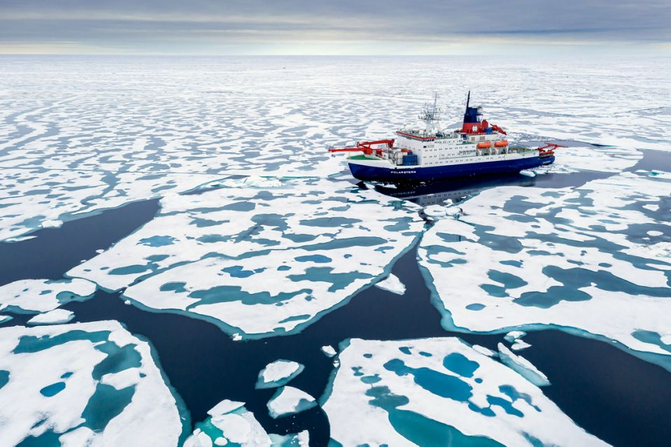 A photo provided by Steffen Graupner and MOSAiC of the Polarstern, a German icebreaker taking part in a large multidisciplinary polar research expedition, in the Arctic Ocean in August.(Steffen Graupner/MOSAiC via The New York Times)