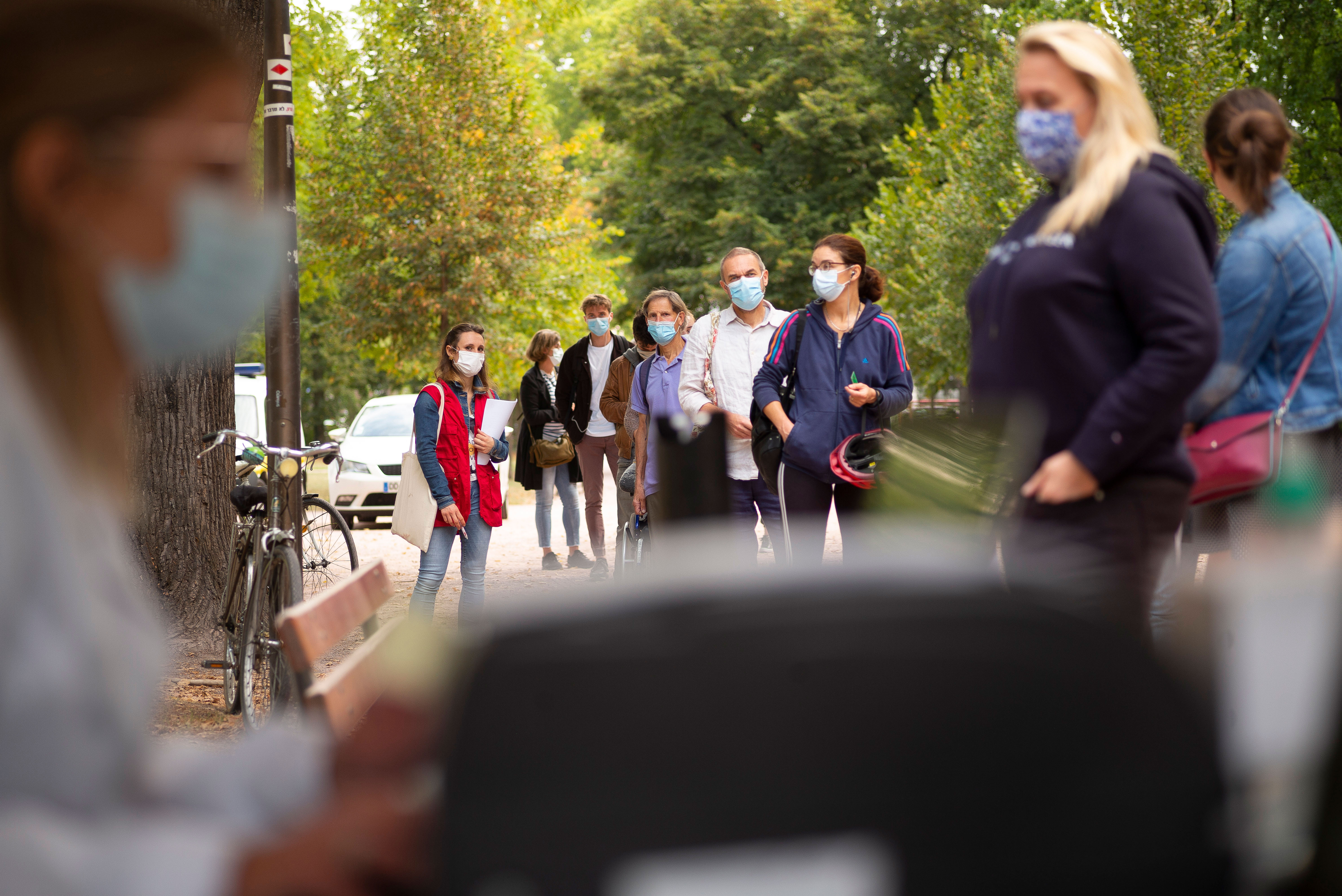 People line up at a mobile Covid-19 testing center in Strasbourg, France, on September 23.