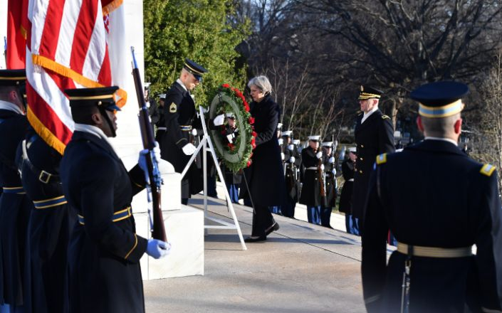 Theresa May lays a wreath at Arlington Cemetery - Andrew Parsons/i-Images