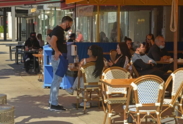 """Outdoor dining has been permitted in California. <p class=""""copyright"""">Michael Tullberg/Getty Images</p>"""