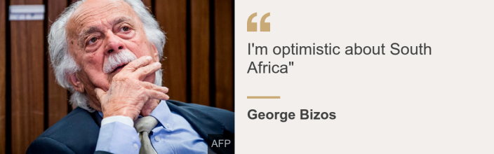 """Quote card. George Bizos: """"I'm optimistic about South Africa"""""""