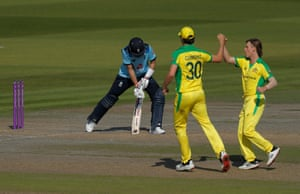 Zampa celebrates dismissing Root for 39.