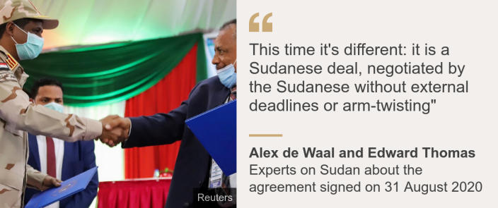 """Quote card: Alex de Waal and Edward Thomas: """"This time it's different: it is a Sudanese deal, negotiated by the Sudanese without external deadlines or arm-twisting"""""""