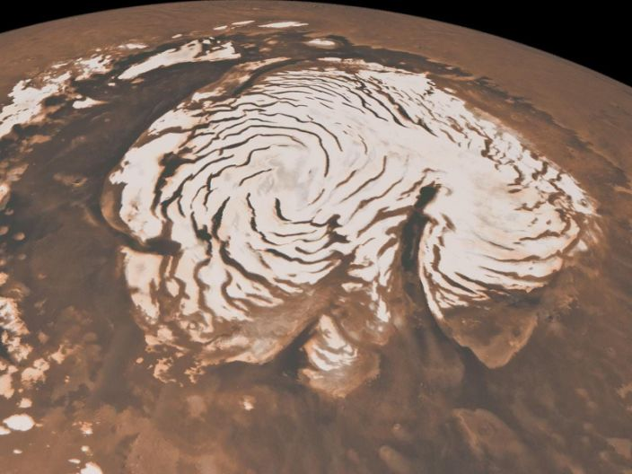 "Mars's northern ice cap. <p class=""copyright""><a href=""http://photojournal.jpl.nasa.gov/catalog/PIA13163"" rel=""nofollow noopener"" target=""_blank"" data-ylk=""slk:NASA/JPL-Caltech/MSSS"" class=""link rapid-noclick-resp"">NASA/JPL-Caltech/MSSS</a></p>"