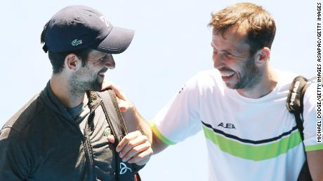 Djokovic with his former coach Radek Stepanek in 2018.