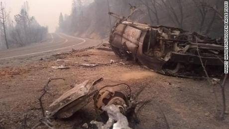 Nancy Hamilton, who shared this photo, says it was terrifying to drive through the Berry Creek area in Northern California, where the North Complex Fire has scorched more than 250,000 acres.