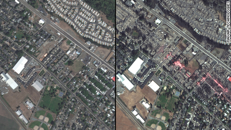 Satellite images show Phoenix and Talent, Oregon, have been nearly wiped out by wildfire