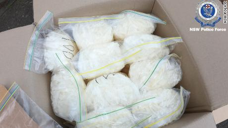 Bags of meth seized from a van that crashed into police vehicles in July 2019 in Sydney, Australia.
