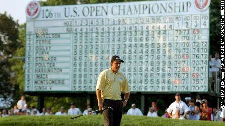 Mickelson stands on the 18th green after his last putt in the final round of the 2006 U.S. Open Championship.