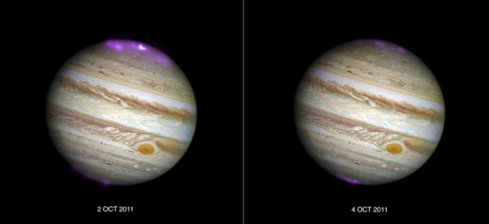 """X-ray aurorae behave differently on Jupiter's north and south poles. <p class=""""copyright""""><a href=""""https://www.nasa.gov/mission_pages/chandra/solar-storms-ignite-xray-northern-lights-on-jupiter.html"""" rel=""""nofollow noopener"""" target=""""_blank"""" data-ylk=""""slk:X-ray: NASA/CXC/UCL/W.Dunn et al, Optical: NASA/STScI"""" class=""""link rapid-noclick-resp"""">X-ray: NASA/CXC/UCL/W.Dunn et al, Optical: NASA/STScI</a></p>"""
