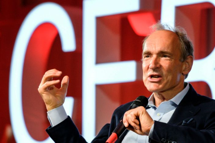"""Computer scientist Tim Berners-Lee delivers a speech during an event at CERN, near Geneva, Switzerland, on March 12, 2019. <p class=""""copyright"""">Associated Press</p>"""