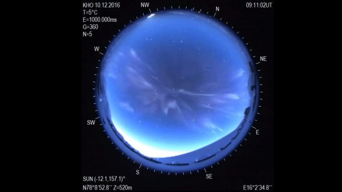 """All-sky cameras in Longyearbyen, Norway, near the Arctic Circle captured these images of an unusual, spiraling aurora. <p class=""""copyright""""><a href=""""https://www.nasa.gov/feature/goddard/2019/postcards-from-the-edge-of-space-scientists-present-new-ionosphere-images-and-science"""" rel=""""nofollow noopener"""" target=""""_blank"""" data-ylk=""""slk:Fred Sigernes/Kjell Henriksen Observatory, Longyearbyen, Norway/Joy Ng"""" class=""""link rapid-noclick-resp"""">Fred Sigernes/Kjell Henriksen Observatory, Longyearbyen, Norway/Joy Ng</a></p>"""