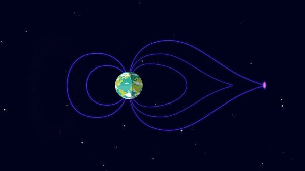 """Earth's magnetic field channels charged particles from the sun towards the poles. <p class=""""copyright""""><a href=""""https://www.esa.int/ESA_Multimedia/Images/2018/03/Carrying_particles"""" rel=""""nofollow noopener"""" target=""""_blank"""" data-ylk=""""slk:NASA Goddard's Conceptual Image Lab/K. Kim"""" class=""""link rapid-noclick-resp"""">NASA Goddard's Conceptual Image Lab/K. Kim</a></p>"""