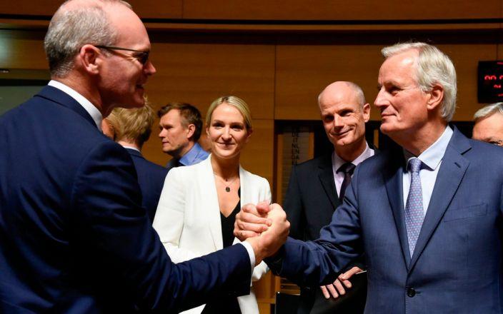 Simon Coveney greets Michel Barnier last year. - AFP