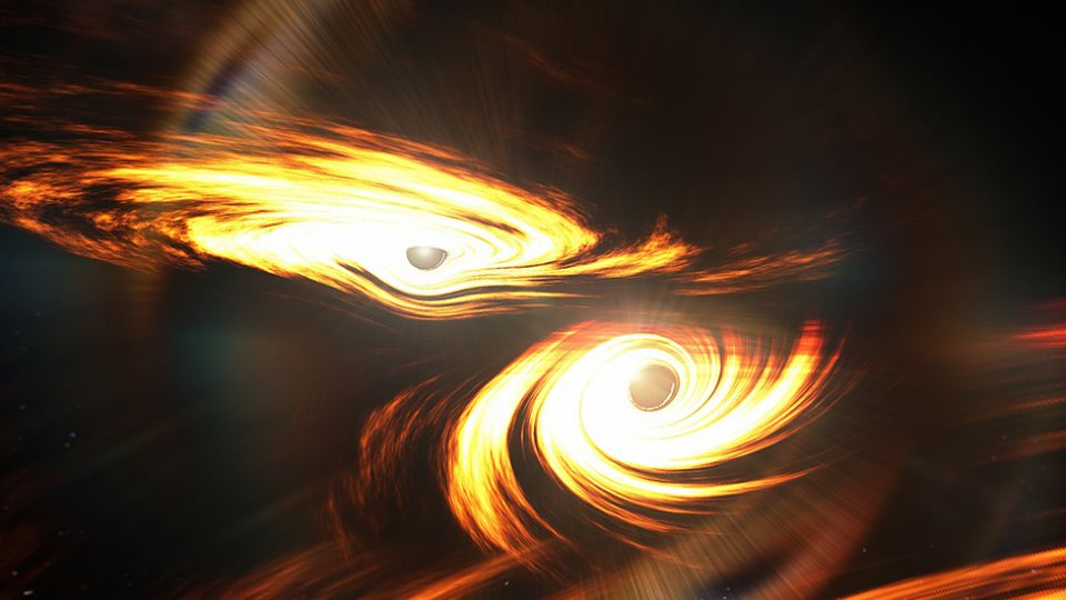An artist's impression of the last moments before the merger of two black holes