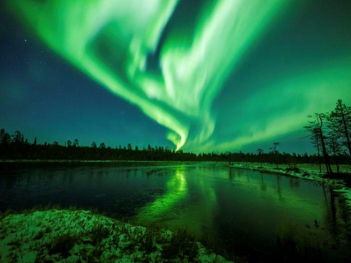 "The Aurora Borealis (Northern Lights) in the sky near Rovaniemi in Lapland, Finland, October 7, 2018. <p class=""copyright"">Alexander Kuznetsov/Reuters</p>"