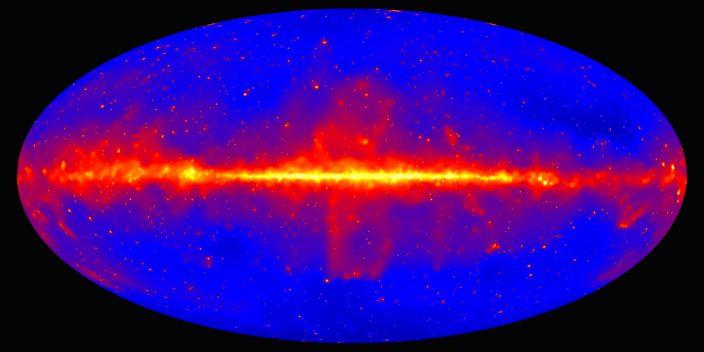 "A gamma-ray sky map produced by the Fermi Large Area Telescope. <p class=""copyright"">NASA/DOE/Fermi LAT Collaboration</p>"
