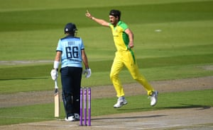 Starc celebrates trapping Root lbw.