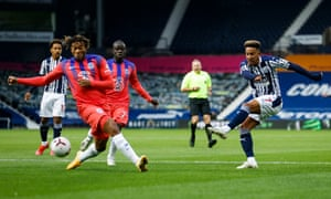 Callum Robinson of West Bromwich Albion fires in the opening goal.