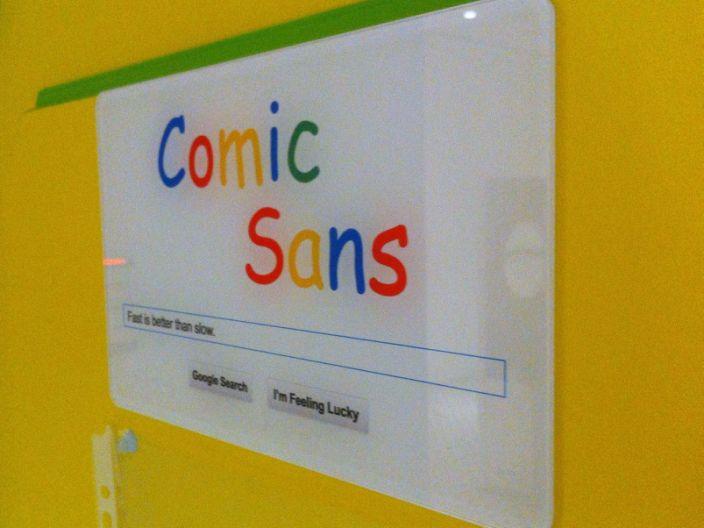 "A sign written in Comic Sans font. <p class=""copyright""><a href=""https://www.flickr.com/photos/jonrussell/8250809645"" rel=""nofollow noopener"" target=""_blank"" data-ylk=""slk:Jon Russell/Flickr"" class=""link rapid-noclick-resp"">Jon Russell/Flickr</a></p>"