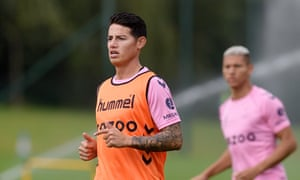 'I can't say I have seen a lot of Everton games, but I have certainly been impressed by the standard on the training ground,' says James Rodríguez.