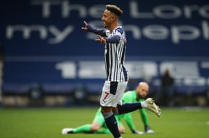 Callum Robinson of West Bromwich Albion celebrates after opening the scoring.