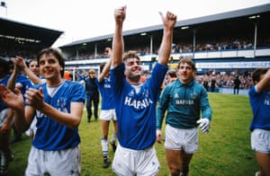 Kevin Ratcliffe, Graeme Sharp and Neville Southall celebrate after winning the league.