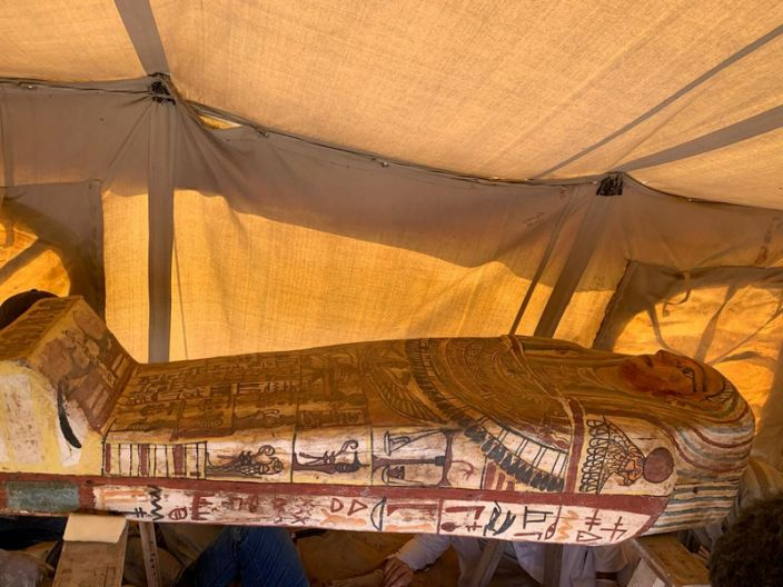 """A 2500-year-old coffin discovered in a burial shaft in the desert near the Saqqara necropolis in Egypt. The image was released September 19, 2020 by the Egyptian Ministry of Antiquities. <p class=""""copyright"""">The Egyptian Ministry of Antiquities/Handout via Reuters</p>"""