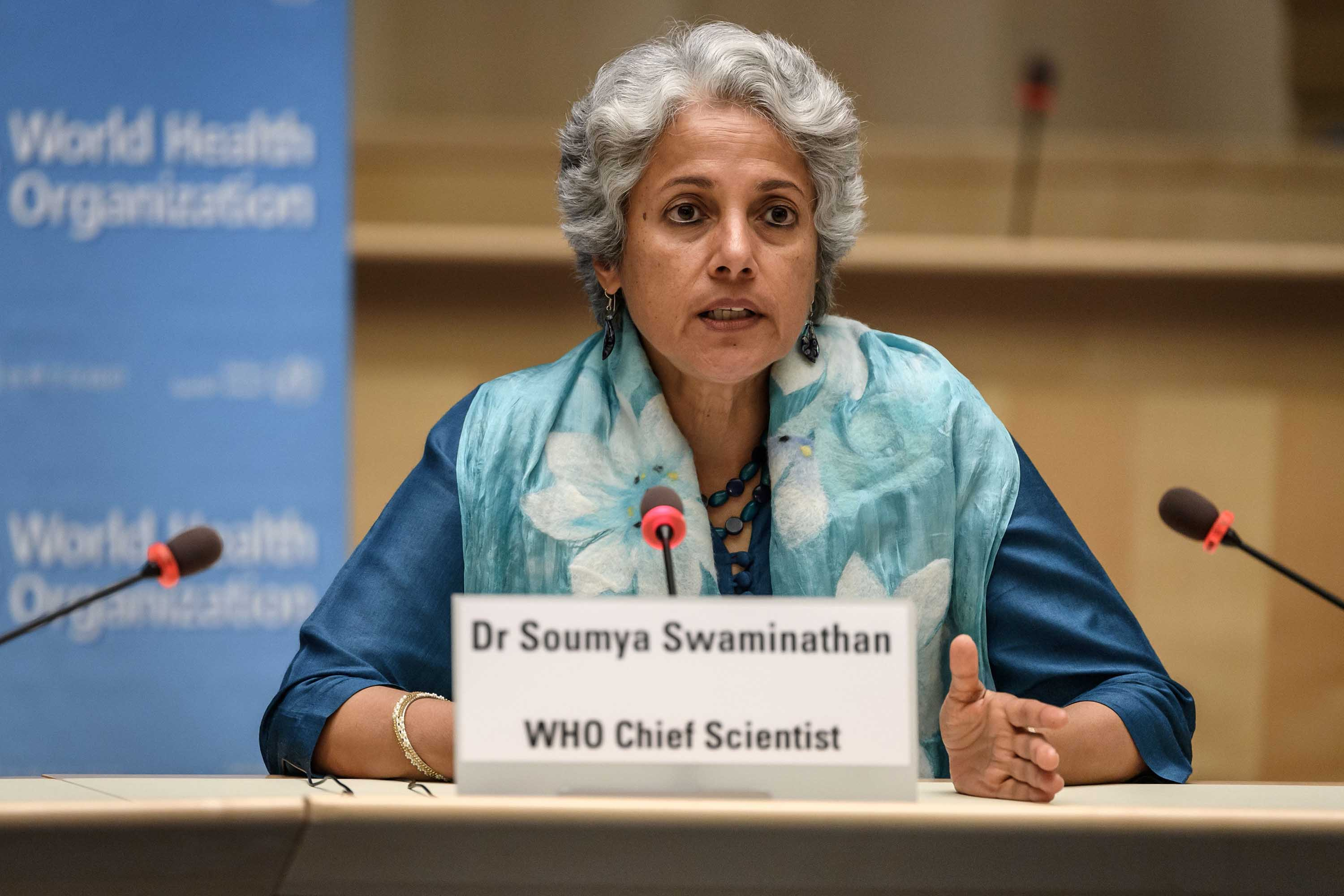 World Health Organization (WHO) Chief Scientist Soumya Swaminathan is pictured at a press conference on July 3, at the WHO headquarters in Geneva.