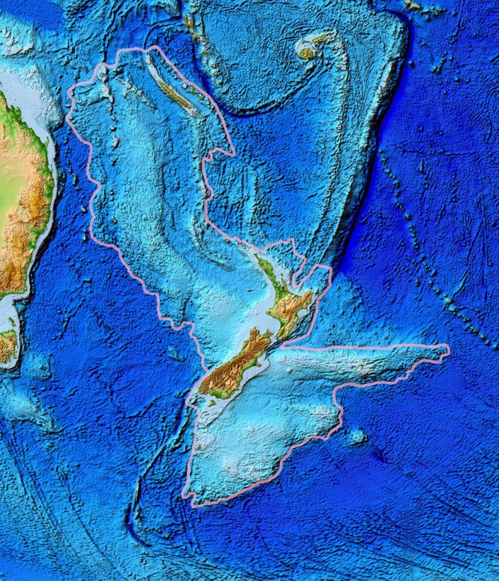 "A map of New Zealandia, outlined in gray. <p class=""copyright"">World Data Center for Geophysics & Marine Geology / National Geophysical Data Center, NOAA</p>"
