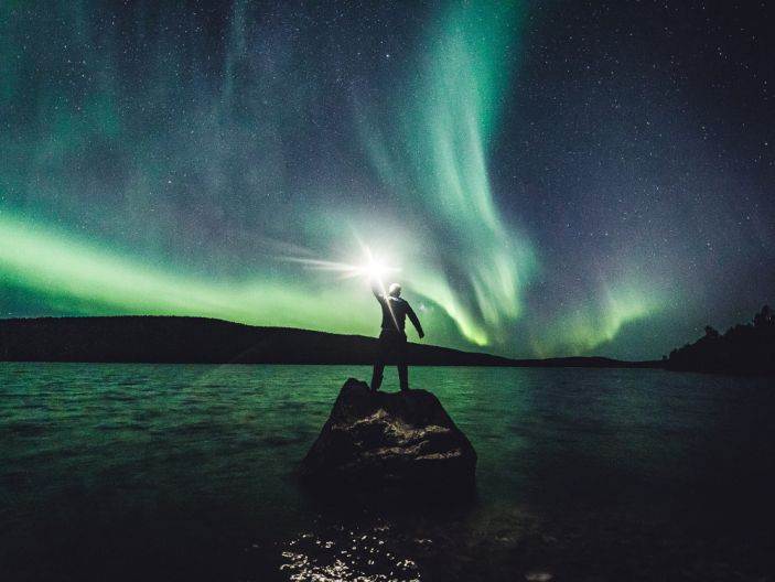 """The Aurora Borealis (Northern Lights) in the sky in Ivalo, Lapland, Finland September 27, 2019. <p class=""""copyright"""">Alexander Kuznetsov/Reuters</p>"""