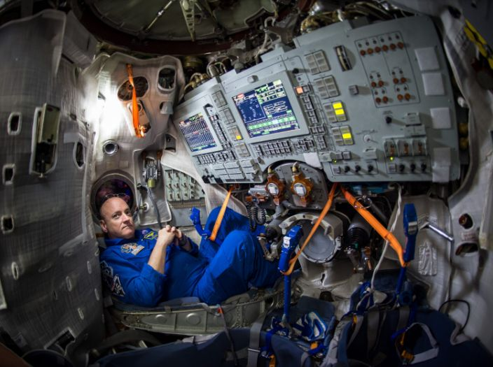 """NASA astronaut Scott Kelly inside a Soyuz simulator at the Gagarin Cosmonaut Training Center in Star City, Russia, March 4, 2015. <p class=""""copyright""""><a href=""""https://www.nasa.gov/content/astronaut-scott-kelly-preparing-for-launch-on-one-year-mission"""" rel=""""nofollow noopener"""" target=""""_blank"""" data-ylk=""""slk:Bill Ingalls/NASA"""" class=""""link rapid-noclick-resp"""">Bill Ingalls/NASA</a></p>"""