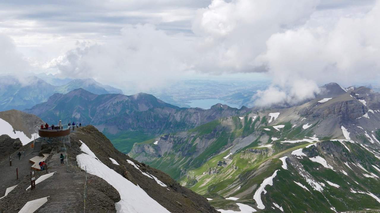 """Wonderful views from the top of the Schilthorn, including the """"007 Walk of Fame"""""""