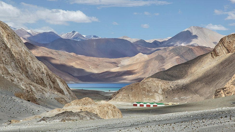 Pangong Lake (Pangong Tso)(seen in the distance) in Ladakh, Jammu and Kashmir, India.