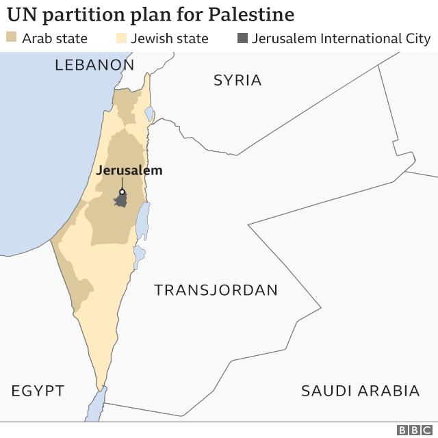 Map of UN partition plan for Palestine
