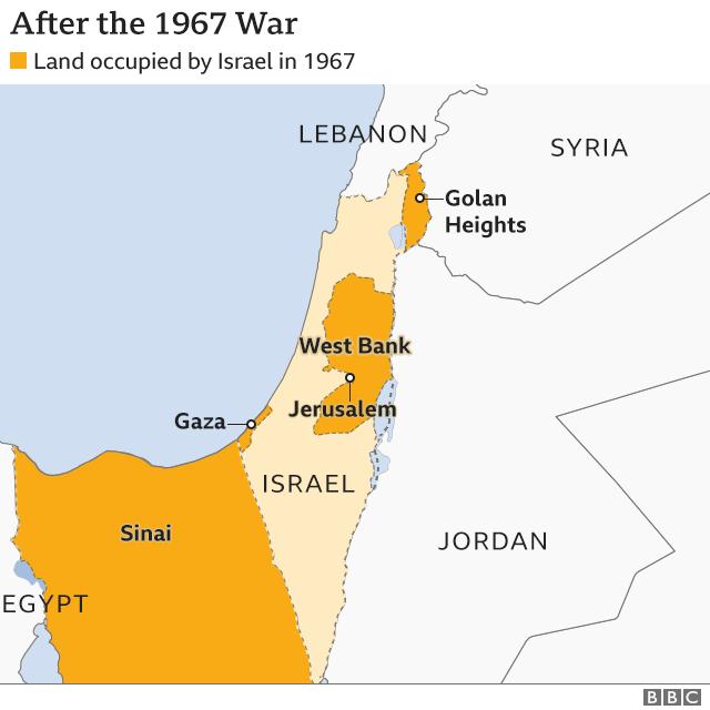 Map of region after 1967 war