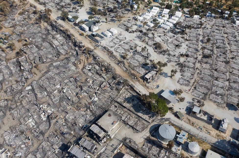 A drone photo on 14 September showing Moria camp ruins
