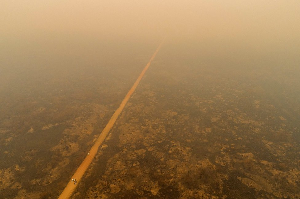 An aerial view of smoke over the Pantanal