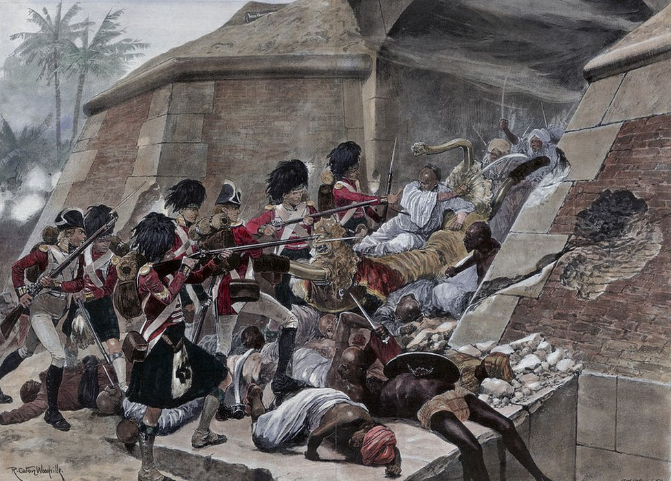 An illustration of the storming of Seringapatam resulting in the death of Tipu Sultan.