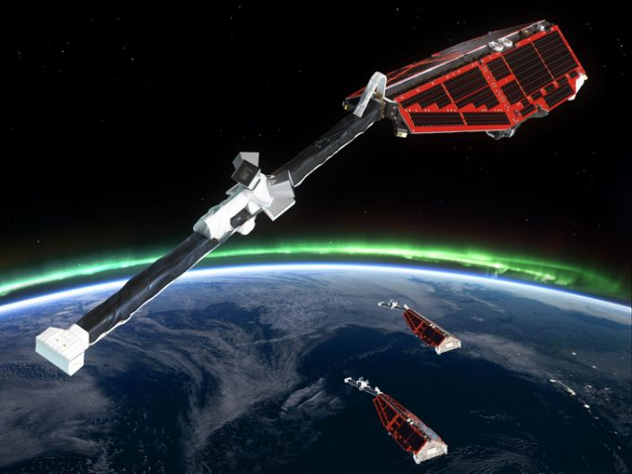 """An artist's rendition of the European Space Agency's Swarm satellites. <p class=""""copyright""""><a href=""""https://www.esa.int/Applications/Observing_the_Earth/Swarm/Getting_to_know_Steve"""" rel=""""nofollow noopener"""" target=""""_blank"""" data-ylk=""""slk:ESA/AOES Medialab"""" class=""""link rapid-noclick-resp"""">ESA/AOES Medialab</a></p>"""