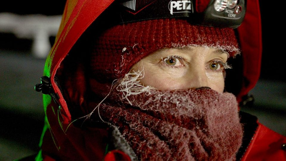 Prof Stroeve was in the Arctic when it was at its coldest and darkest