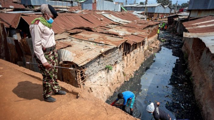 There is a chronic shortage of toilets in Kibera and faeces are often thrown in bags into open sewers