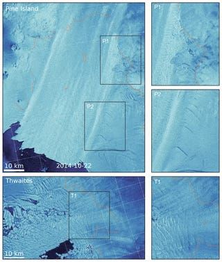 "Satellite imagery between October 2014 and May 2019 shows extensive damage to the Thwaites and Pine Island Glaciers. <p class=""copyright"">Lhermitte et al/PNAS</p>"