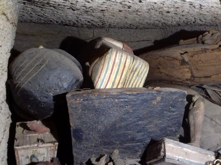 """Multiple coffins discovered in a burial shaft in the desert near the Saqqara necropolis in Egypt . <p class=""""copyright"""">The Egyptian Ministry of Antiquities/Handout via Reuters</p>"""