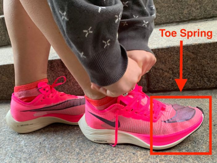 """The upward curve at the front of modern-day sneakers is called the toe spring. <p class=""""copyright"""">Aylin Woodward/Business Insider</p>"""