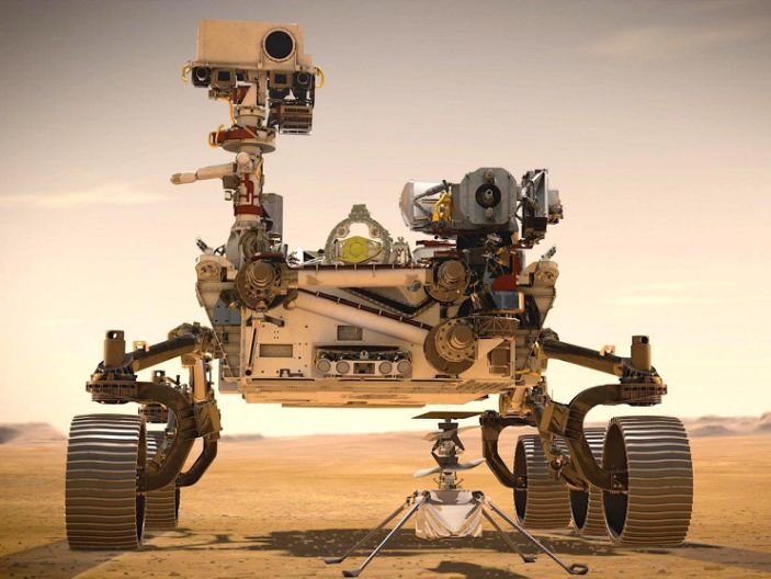 """An artist's illustration shows NASA's Perseverance rover and Ingenuity helicopter on Mars. <p class=""""copyright""""><a href=""""https://www.jpl.nasa.gov/spaceimages/details.php?id=PIA23962"""" rel=""""nofollow noopener"""" target=""""_blank"""" data-ylk=""""slk:NASA/JPL-Caltech"""" class=""""link rapid-noclick-resp"""">NASA/JPL-Caltech</a></p>"""