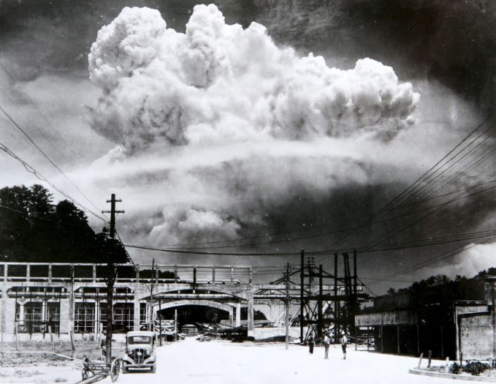 """The mushroom cloud from the atomic bomb that the US dropped on Nagasaki, Japan, August 9, 1945. <p class=""""copyright"""">Hiromichi Matsuda/Wikimedia Commons</p>"""
